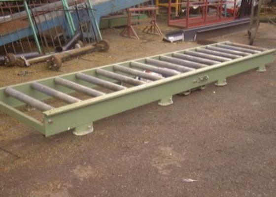 Flat conveyor with powered rollers, 16'x3'.
